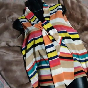 Alice + Olivia multicolor striped silk blouse